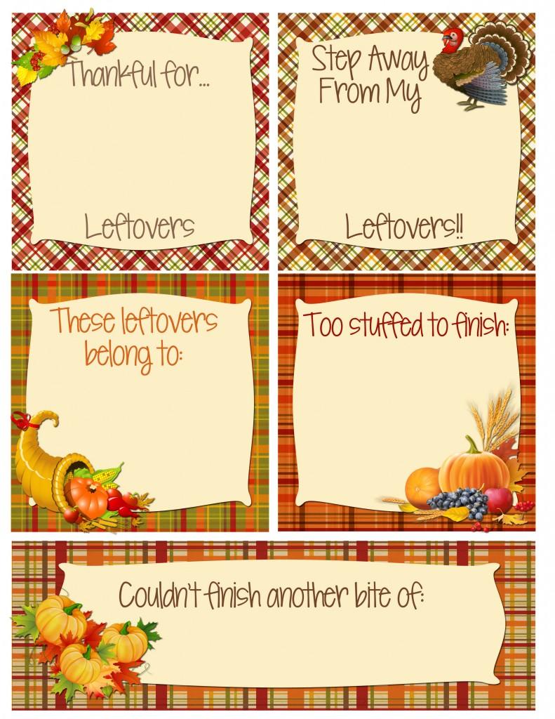 Thanksgiving freebie printout